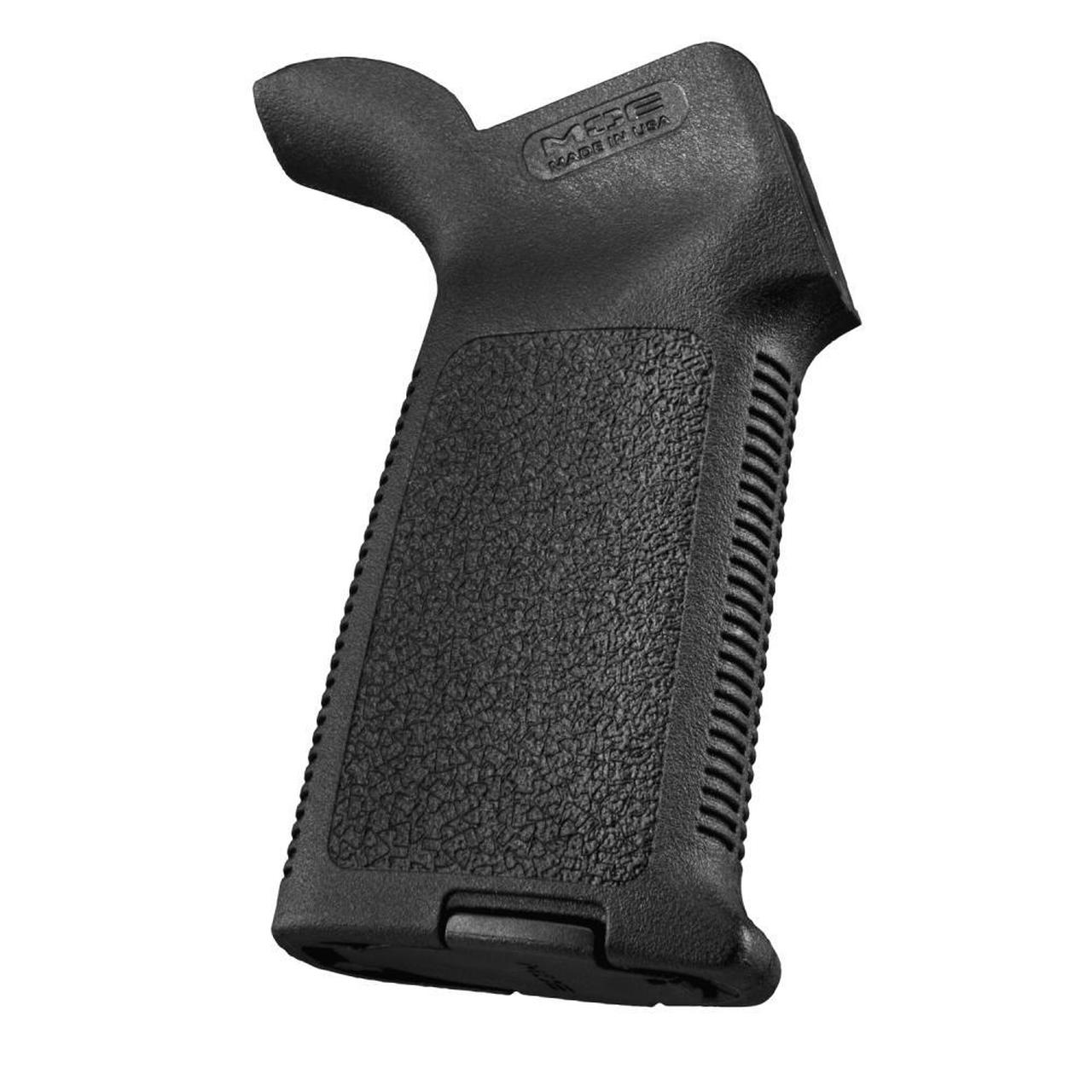 A Magpul MOE Grip. The most popular aftermarket grip, it also offers you a storage option inside.